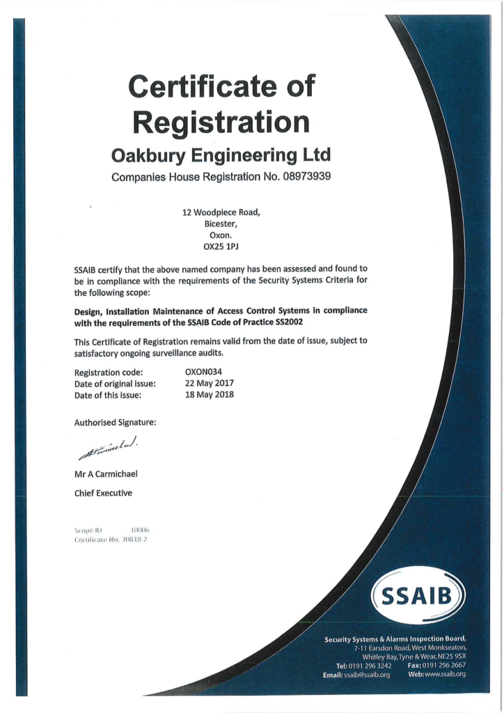 SSAIB Certificate of Registration - Installation and Maintenance of Access Control Systems